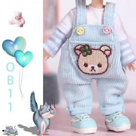 LIGHT BLUE BEAR OVERALL OUTFIT FOR OB11 STODOLL LATI WHITE SP PUKIPUKI OBITSU 11 CM DOLLS