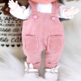 LIGHT PINK OVERALL OUTFIT FOR OB11 STODOLL LATI WHITE SP PUKIPUKI OBITSU 11 CM DOLLS
