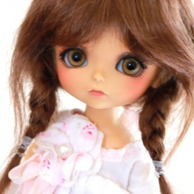 TESSIE REDDISH BROWN MOHAIR WIG FOR BJD STODOLL OB11 CUSTOM SYBARITE LATI YELLOW PUKIFEE DOLL 5/6