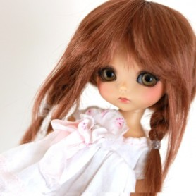 TESSIE DOUBLE RED MOHAIR WIG FOR BJD STODOLL OB11 CUSTOM SYBARITE LATI YELLOW PUKIFEE DOLL 5/6