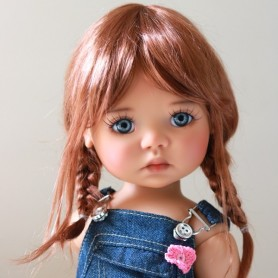 "TESSIE DOUBLE RED MOHAIR DOLL WIG 12/13 EXCLUSIVE FDL FOR BJD MEADOWDOLLS SAFFI BAILEY 18"" DOLLS ETC..."