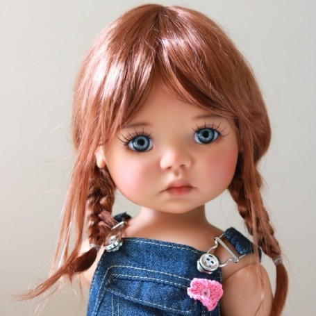 """TESSIE DOUBLE RED MOHAIR DOLL WIG 12/13 EXCLUSIVE FDL FOR BJD MEADOWDOLLS SAFFI BAILEY 18"""" DOLLS ETC..."""