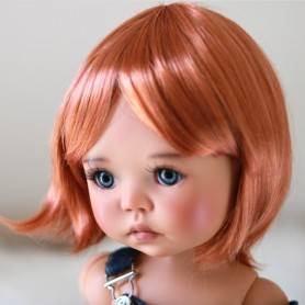 "PERRUQUE WIG MARINA BOB MOHAIR ROUX RENARD 12.13 EXCLUSIVE FDL BJD MY MEADOWS 18"" DOLLS ETC..."