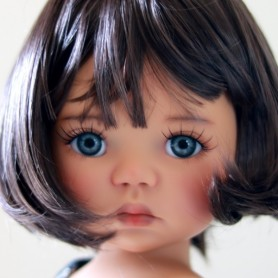 "BOB MARINA DARK CHESTNUT BROWN WIG FRENCH CUT 12/13 EXCLUSIVE FDL FOR BJD MY MEADOWS 18"" DOLLS ETC..."
