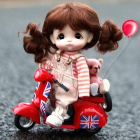 DOLL AUTOBIKE SCOOTER LATI WHITE & SP BJD REALPUKI OBITSU 11 OB11 DOLLHOUSE ....1/12