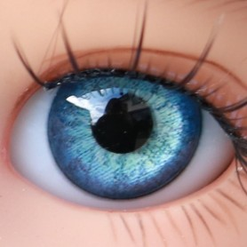 YEUX EN VERRE OVAL REAL BLEU AZUR 14 mm GLASS EYES POUR POUPÉE BJD BALL JOINTED DOLL LATI YELLOW ...