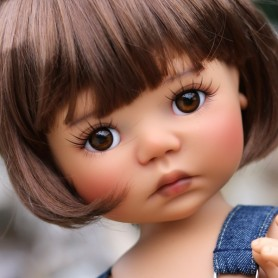 "PERRUQUE WIG BOB MARINA DARK CHESTNUT BROWN 11/12 EXCLUSIVE FDL BJD MY MEADOWS 18"" DOLLS ETC..."