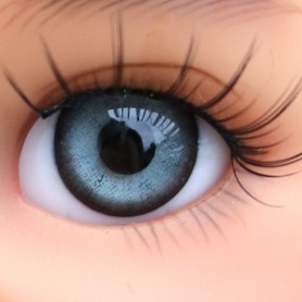 YEUX EN VERRE OVAL REAL BLEU GRIS 12 mm GLASS EYES POUPÉE BJD LATI YELLOW MY MEADOWS SAFFI BAILEY TELLA GIGI