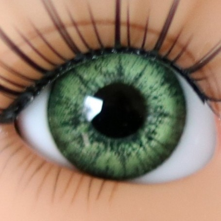 OVAL REAL OLIVE GREEN 12 mm GLASS EYES FOR DOLL BJD LATI YELLOW MY MEADOWS GIGI BAILEY PATTI ...