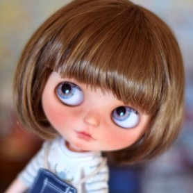 PERRUQUE WIG BOB LIGHT BROWN POUPÉE BJD MEADOWDOLLS MAE ZWERGNASE BLYTHE CUSTOM DOLLS