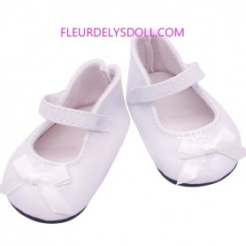 "CHAUSSURES MARY JANE BLANC 7.2 X 3.6 CM POUR POUPEES 18"" BJD MY MEADOW MEADOWDOLL 18"" SAFFI BAILEY GOTZ AMERICAN GIRL ETC..."