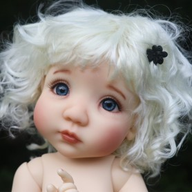 CURLY WHITE BLOND DOLL WIG 10.11 BJD MEADOWDOLLS MAE ADRYN ZWERGNASE BLYTHE CUSTOM DOLLS