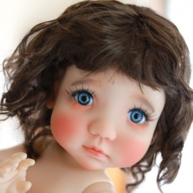 PERRUQUE WIG CURLY BROWN POUPÉE BJD MEADOWDOLLS MAE ZWERGNASE BLYTHE CUSTOM DOLLS