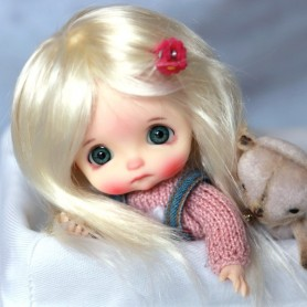 PERRUQUE WIG ANGEL BLOND POUR BJD STODOLL OB11 CUSTOM SYBARITE LATI YELLOW PUKIFEE DOLL