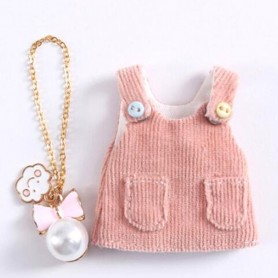 ROBE VELOURS ROSE + COLLIER POUR POUPÉE OB11 STODOLL BJD LATI WHITE SP PUKIPUKI OBITSU 11 CM DOLLS
