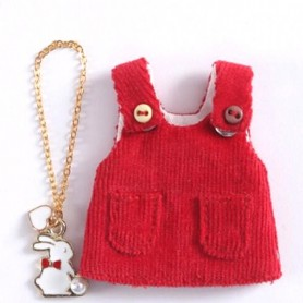 ROBE VELOURS ROUGE + COLLIER POUR OB11 STODOLL BJD LATI WHITE SP PUKIPUKI OBITSU 11 CM DOLLS