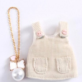 CREAM WHITE DRESS OUTFIT + NECKLACE FOR OB11 STODOLL LATI WHITE SP PUKIPUKI OBITSU 11 CM DOLLS