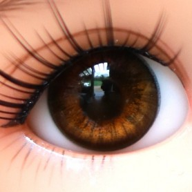 YEUX EN VERRE OVAL REAL ASIAN BROWN 14 mm GLASS EYES POUR POUPÉE BJD BALL JOINTED DOLL LATI YELLOW ...