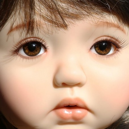 14 MM Glass Flat Oval Brown NOS Doll Eyes