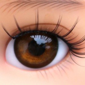 YEUX EN VERRE OVAL REAL BRUN ACAJOU 14 mm GLASS EYES POUPÉE BJD IPLEHOUSE REBORN DOLL ...