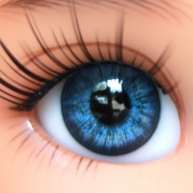 YEUX EN VERRE OVAL REAL OCEAN BLUE 14 mm GLASS EYES POUPÉE BJD IPLEHOUSE REBORN ....