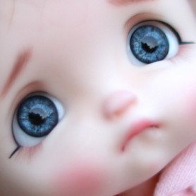 YEUX EN VERRE OVAL REAL CRISTAL BLUE 14 mm GLASS EYES POUPÉE BJD IPLEHOUSE REBORN ....