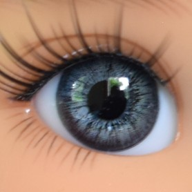 YEUX EN VERRE OVAL GRIS GREY 12 mm GLASS EYES POUPÉE BJD LATI YELLOW MY MEADOWS SAFFI BAILEY TELLA GIGI
