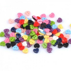 10 MINI BOUTONS COEUR MULTICOLORES 5 MM COUTURE POUPEES ROBES PULL PANTALON SALOPETTE BJD LATI YELLOW PUKIFEE BARBIE ....