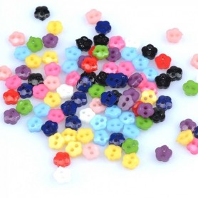 10 MINI BOUTONS MULTICOLORES FLEUR 5 MM COUTURE POUPEES ROBES PULL PANTALON SALOPETTE BJD LATI YELLOW PUKIFEE BARBIE ....