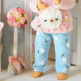 BLUE FLOWER PANTS OUTFIT FOR BJD LATI YELLOW PUKIFEE AND OTHER SMALL DOLLS