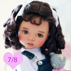 LULU BROWN BLACK 7/8 WIG FOR BJD DOLLS EFFNER LITTLE DARLING NIKKI BRITT DOLLS DOLLFIE MSD KAYE WIGGS...