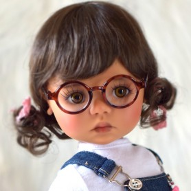 ROUND VINTAGE BROWN GLASSES FOR BJD DOLLS BLYTHE CUSTOM DOLL MEADOWDOLLS SAFFI BAILEY AMERICAN GIRL DOLL