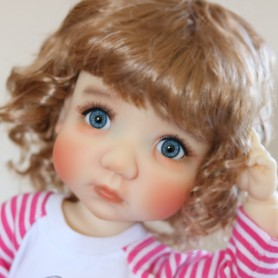 PERRUQUE WIG CURLY GOLDEN BLOND POUPÉE BJD MEADOWDOLLS MAE ZWERGNASE BLYTHE CUSTOM DOLLS