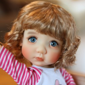 PERRUQUE POUPÉE DOLL WIG CURLY GOLDEN BLOND 10.11 BJD MEADOWDOLLS MAE ADRYN ZWERGNASE BLYTHE CUSTOM DOLLS