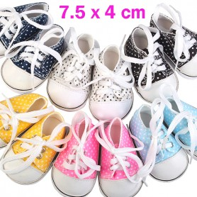 "DOTS TENNIS SNEAKERS DOLL SHOES 7.5 X 4 CM FOR 18"" BJD DOLL MEADOWDOLLS SAFFI BAILEY GOTZ AMERICAN GIRL ETC..."