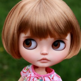 "LIGHT CARAMEL BOB CUT DOLL WIG 10-11"" BJD MEADOWDOLLS MAE ZWERGNASE BLYTHE CUSTOM DOLLS"