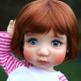 "RED FOX BOB CUT DOLL WIG 10-11"" BJD MEADOWDOLLS MAE ZWERGNASE BLYTHE CUSTOM DOLLS"