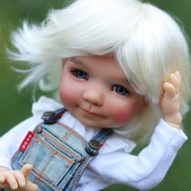PERRUQUE WIG ROXIE WHITE BLOND 8/9 BOY & GIRL POUPÉE BJD MEADOWDOLLS PULLIP KAYE WIGGS WICHTEL SD LUTS MUI CHAN MIDDIE BLYTHE