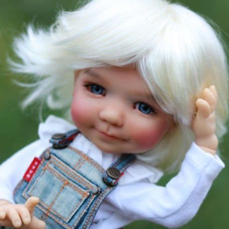 ROXIE WHITE BLOND DOLL WIG 8/9 BOY & GIRL POUPÉE BJD MEADOWDOLLS PULLIP KAYE WIGGS WICHTEL SD LUTS MUI CHAN MIDDIE BLYTHE