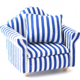 BLUE STRIPE ARMCHAIR MINIATURE FOR DOLLHOUSE DIORAMA BJD DOLL LATI YELLOW PUKIFEE STODOLL OB11 DOLLS 1/12