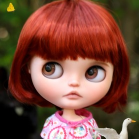 "FIRE RED CUT DOLL WIG 10-11"" BJD MEADOWDOLLS MAE ZWERGNASE BLYTHE CUSTOM DOLLS"