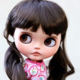 "LONG BROWN CURLS DOLL WIG 10-11"" BJD MEADOWDOLLS ADRYN MAE ZWERGNASE BLYTHE CUSTOM DOLLS"