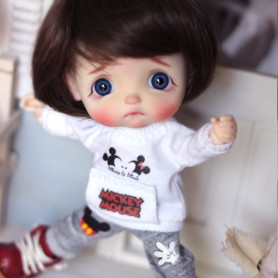 MICKEY MOUSE SWEAT SHIRT AND PANTS FOR STODOLL OB11 LATI WHITE SP OBITSU 11 PUKIPUKI DOLLS