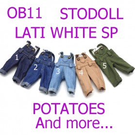 JEAN OVERALL OUTFIT FOR OB11 STODOLL LATI WHITE SP PUKIPUKI OBITSU 11 CM DOLLS