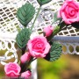STRING OF PINK ROSES 21 CM FLEXIBLE MINIATURE DOLLHOUSE DIORAMA FURNITURE 1:12