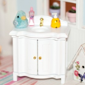MINIATURE WHITE VANITY UNIT BJD DOLL STODOLL OB11 LATI WITHE SP LATI YELLOW PUKIFEE PUKIPUKI DIORAMA DOLLHOUSE FURNITURE