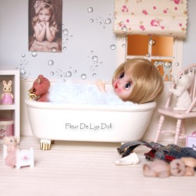 MINIATURE VINTAGE BATH BATHROOM BJD DOLL STODOLL OB11 LATI WITHE SP LATI YELLOW PUKIFEE PUKIPUKI DIORAMA DOLLHOUSE FURNITURE