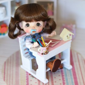 MINIATURE PINK SCHOOL DESK VINTAGE BJD DOLL DOLLHOUSE DIORAMA STODOLL OB11 LATI YELLOW DOLLS PUKIFEE FURNITURE 1:12