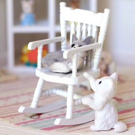 CHAISE FAUTEUIL ROCKING-CHAIR MINIATURE POUPÉE STODOLL OB11 LATI YELLOW PUKIFEE MAISON DE POUPÉE DIORAMA DOLLHOUSE 1/12