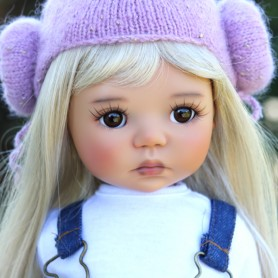 "PERRUQUE MONIQUE DOLL WIG PEGGY LIGHT BLOND 12/13 POUR POUPÉE BJD MEADOWDOLLS SAFFI BAILEY SYLVIA-SCARLET 18"" DOLLS ETC..."